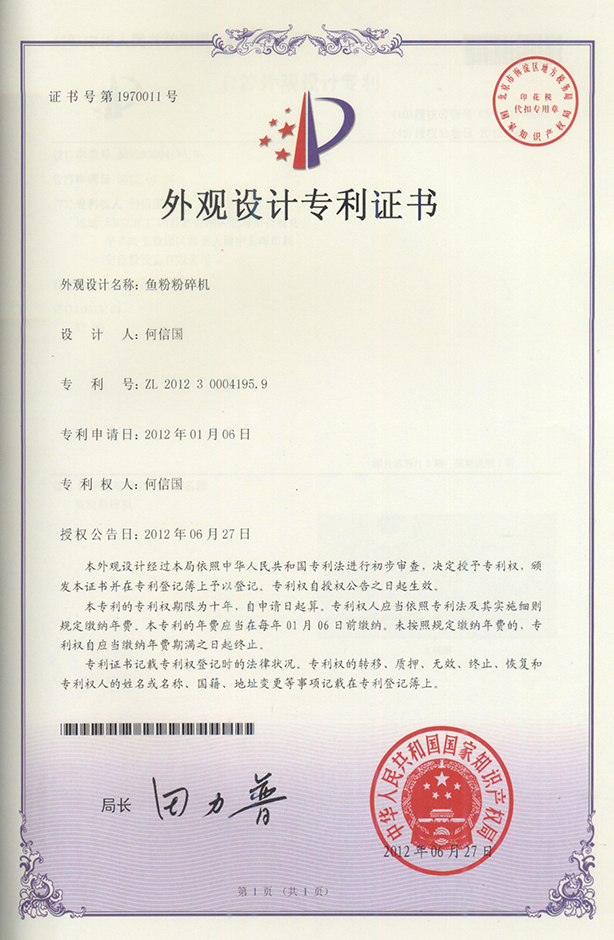 Patent Certificate for Designs 2012-06-27